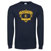 Navy Long Sleeve T Shirt-Softball Field