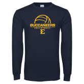 Navy Long Sleeve T Shirt-Volleyball on Top
