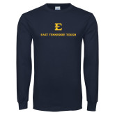 Navy Long Sleeve T Shirt-East Tennessee Tough Stacked