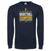 Navy Long Sleeve T Shirt-2017 Southern Conference Tournament Mens Basketball Champions Stacked