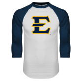 White/Navy Raglan Baseball T-Shirt-E - Offical Logo