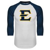 White/Navy Raglan Baseball T-Shirt-E - Offical Logo