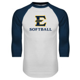 White/Navy Raglan Baseball T-Shirt-E Softball