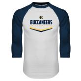 White/Navy Raglan Baseball T-Shirt-Baseball Plate Design
