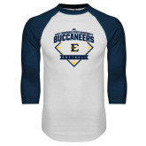 White/Navy Raglan Baseball T-Shirt-Softball Field