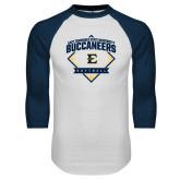 White/Navy Raglan Baseball T-Shirt-Softball Field