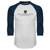 White/Navy Raglan Baseball T-Shirt-East Tennessee University - Institutional Mark