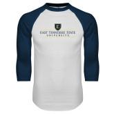 White/Navy Raglan Baseball T-Shirt-East Tennessee University - Institutional Mark