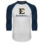 White/Navy Raglan Baseball T-Shirt-E Baseball