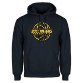 Navy Fleece Hoodie-Basketball Outline Design