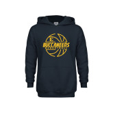 Youth Navy Fleece Hoodie-Basketball Outline Design