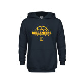 Youth Navy Fleece Hoodie-Soccer Outline Design