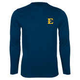 Performance Navy Longsleeve Shirt-E - Offical Logo