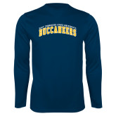 Performance Navy Longsleeve Shirt-Arched East Tennessee University Buccaneers