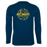 Syntrel Performance Navy Longsleeve Shirt-Basketball Outline Design