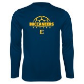 Performance Navy Longsleeve Shirt-Soccer Outline Design