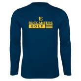 Performance Navy Longsleeve Shirt-Golf Flag Design