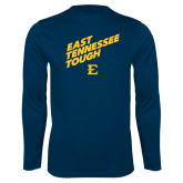 Performance Navy Longsleeve Shirt-East Tennessee Tough Slant