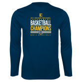 Performance Navy Longsleeve Shirt-2017 Southern Conference Tournament Mens Basketball Champions Stacked