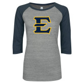 ENZA Ladies Athletic Heather/Navy Vintage Triblend Baseball Tee-E - Offical Logo
