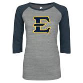ENZA Ladies Athletic Heather/Navy Vintage Triblend Baseball Tee-E - Offical Logo