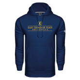 Under Armour Navy Performance Sweats Team Hood-East Tennessee University - Institutional Mark