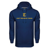 Under Armour Navy Performance Sweats Team Hood-East Tennessee Tough Stacked