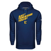Under Armour Navy Performance Sweats Team Hood-East Tennessee Tough Slant