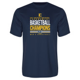 Performance Navy Tee-2017 Southern Conference Tournament Mens Basketball Champions Stacked