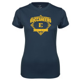 Ladies Syntrel Performance Navy Tee-Softball Field
