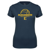 Ladies Syntrel Performance Navy Tee-Volleyball on Top