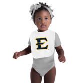 White Baby Bib-E - Offical Logo