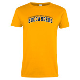 Ladies Gold T Shirt-Arched East Tennessee University Buccaneers