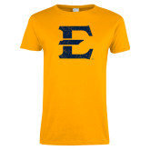 Ladies Gold T Shirt-E - Offical Logo Distressed