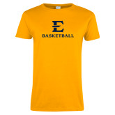 Ladies Gold T Shirt-E Basketball