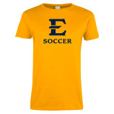 Ladies Gold T Shirt-E Soccer