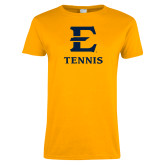 Ladies Gold T Shirt-E Tennis