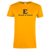 Ladies Gold T Shirt-E Track and Field