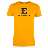 Ladies Gold T Shirt-E Softball