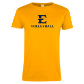 Ladies Gold T Shirt-E Volleyball