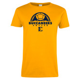 Ladies Gold T Shirt-Soccer Design