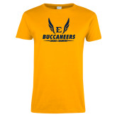 Ladies Gold T Shirt-Cross Country Wings