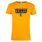 Ladies Gold T Shirt-Tennis Arrow