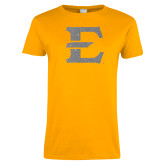 Ladies Gold T Shirt-E Silver Soft Glitter