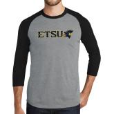 Grey/Black Tri Blend Baseball Raglan-ETSU w/ Buccaneer Head