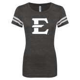 ENZA Ladies Black/White Vintage Triblend Football Tee-E - Offical Logo