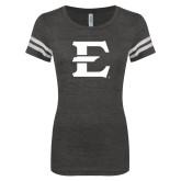 ENZA Ladies Black/White Vintage Triblend Football Tee-E - Offical Logo