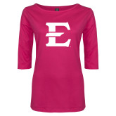 Ladies Dark Fuchsia Perfect Weight 3/4 Sleeve Tee-E - Offical Logo
