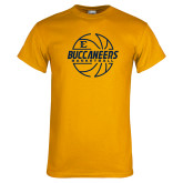 Gold T Shirt-Basketball Outline Design