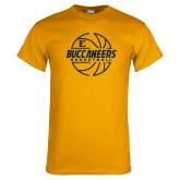 Gold T Shirt-Basketball Outline Design